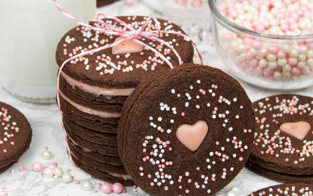 Chocolate Cutout Cookies with Rose Ganache Filling