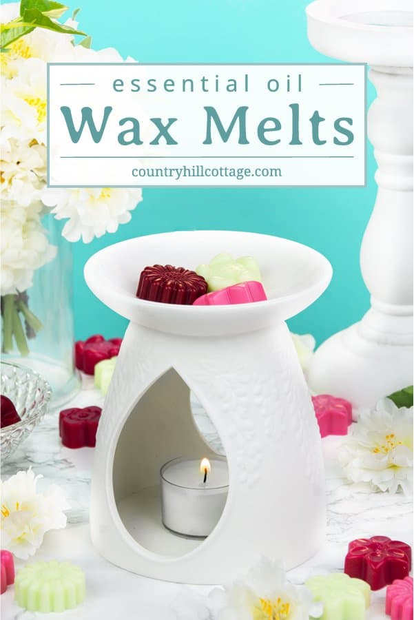 Make DIY wax melts with essential oils and soy wax fill any room in your home with fragrance. Natural, non-toxic materials are perfect for refreshing a room. These homemade wax tarts are lovely home accents & great to freshen up any space of your house. Create any scent, shape or size you want to match your preference or occasion. We also share different essential oil blends & tips for the best scent throw. #waxmelts #waxtarts #diywaxmelts #essentialoils #homefragrance | countryhillcottage.com
