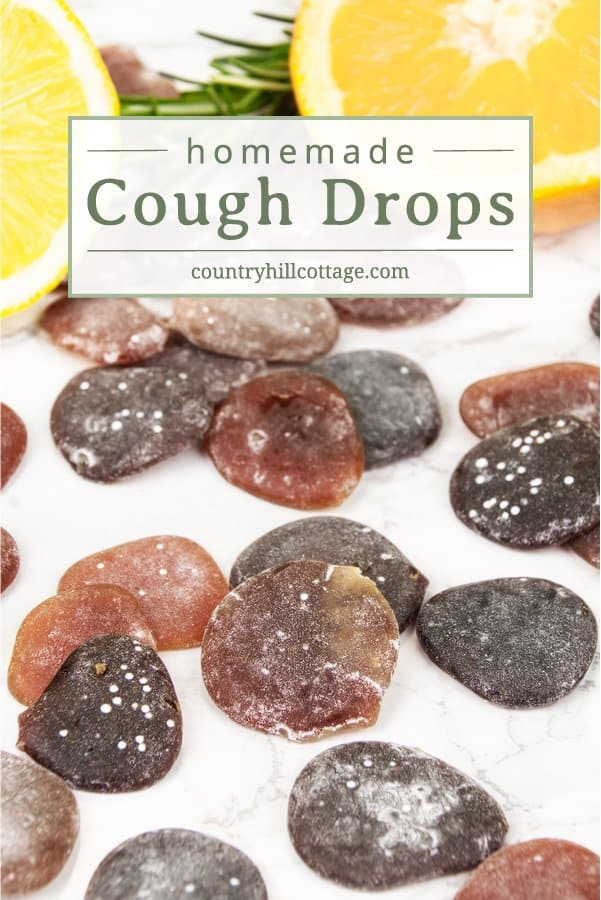 Relieve coughs and soothe a sore throat with natural homemade cough drops. These DIY cough drops with herbs are a wonderful homemade remedy to calm a cough as it may occur with a cold, minor throat irritation and scratchiness. The ingredients for these yum all-natural drops include herbs, honey, lemon juice, and spices. You can customise the recipe to your needs. Includes printable labels for storage and gifting. #coughdrops #naturalremedy #coughremedy #herbalremedy | countryhillcottage.com