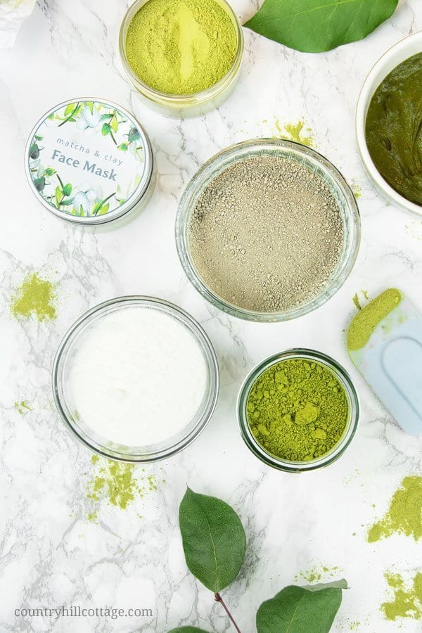 Ingredients for matcha face mask