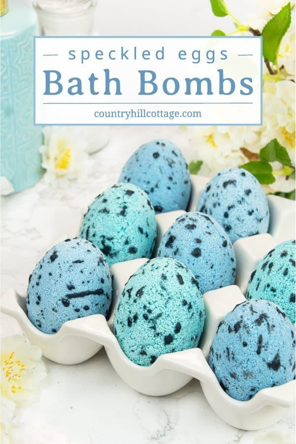 DIY speckled egg bath bombs make cute homemade Easter gifts for family, friends, neighbours, and teachers. The bath bomb recipe is easy to prepare, made with natural ingredients and can be customised with different fragrance or essential oils. Added to a warm bath, these Easter egg-shaped bath bombs create a fantastic fizz and the scent is wonderfully relaxing. Perfect for a fun and bubbly bath time! #bathbomb #speckledegg #Easteregg #essentialoils #beautygift #DIYgift | countrhillcottage.com