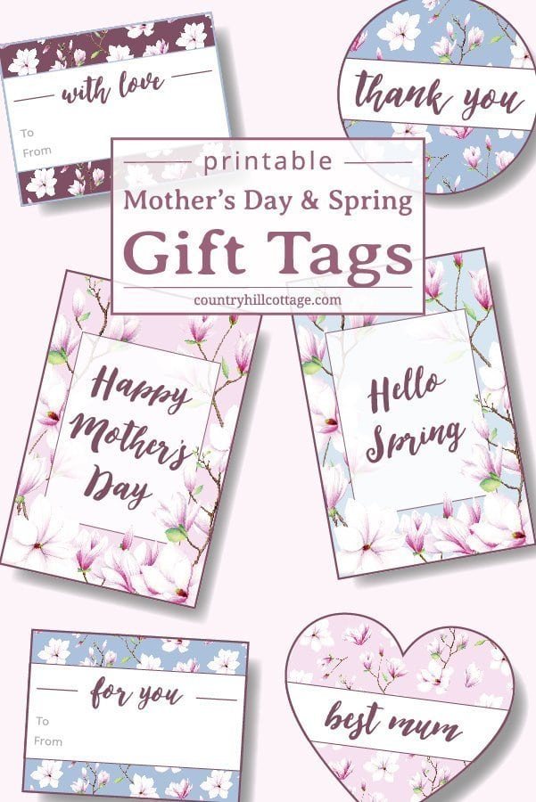 image relating to Free Printable Mothers Day Tags called Printable Magnolia Present Tags for Moms Working day Spring