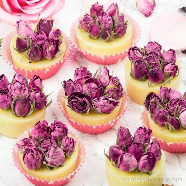 DIY rose bath truffles