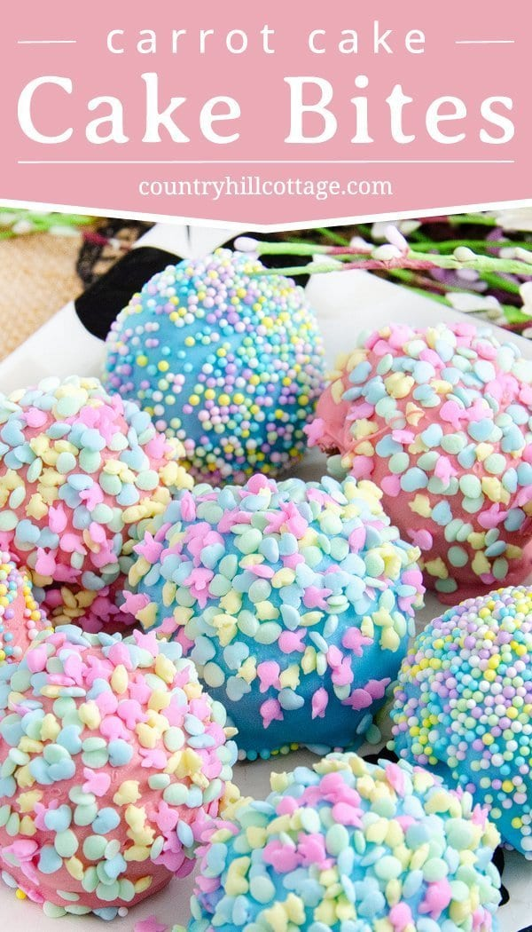 These sweet, delicious carrot cake bites are perfect Easter treats and basket stuffers  with their bright colors and Easter sprinkles. The cake bites are easy to make. The recipe uses boxed cake mix, with adjustments to make it taste homemade, and a yum cinnamon cream cheese frosting. The bites are dipped in pastel candy melts and covered with sprinkles. Your friends and family will love this homemade food gift. #cakebites #Eastertreat #Easter #sprinkles #cakepops   countryhillcottage.com