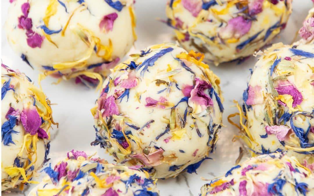 Floral DIY Bath Creamers with Essential Oils