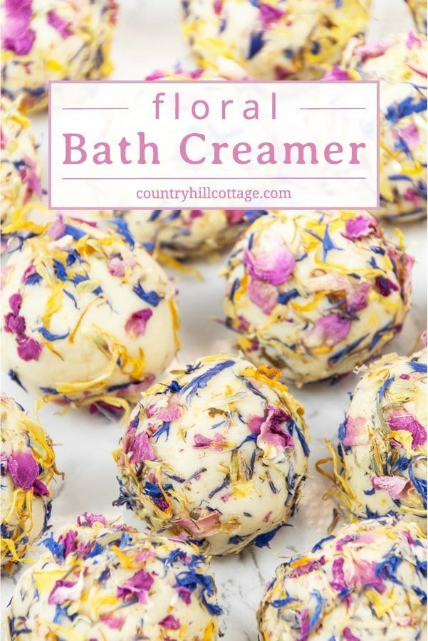 Add luxury to your bath time with floral DIY bath creamers! Homemade bath creamers are a mix of fizzy bath bombs and nourishing bath melts. The natural ingredients for these handmade beauty products include moisturising shea and cocoa butter, milk powder, and fragrant essential oils. They are also a thoughtful homemade gift for everyone interested in natural skincare. #bathcreamer #bathbomb #bathmelt #essentialoils #naturalskincare | countryhillcottage.com