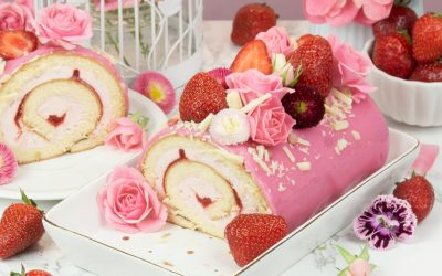 Strawberry Roll Cake Recipe with Mirror Glaze