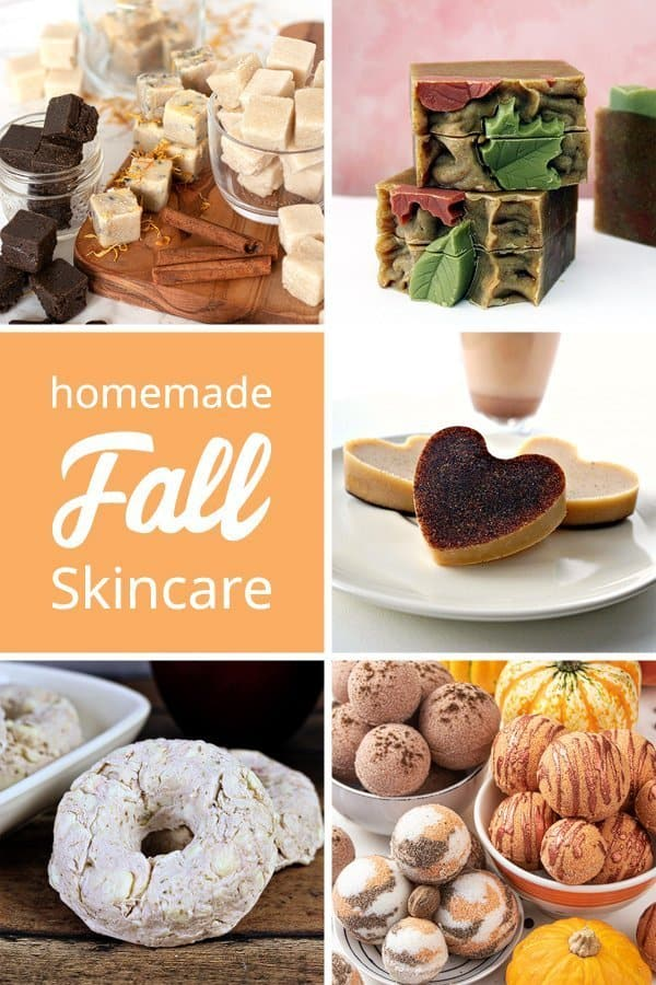 Get 5 mazing fall natural skincare recipe to keep your skin looking and feeling great all autumn long! The easy homemade beauty recipes include sugar scrub cubes, a cold process sopa, a melt and pour soap project, lotion bars, and bath bombs with essential oils. #skincare #natural #essentialoils #beautyrecipe #organic #sugarscrub #sugarscrubcubes #soap #meltandpour #coldprocess #lotion-bars #massagebars #autumn #fall | countryhillcottage.com
