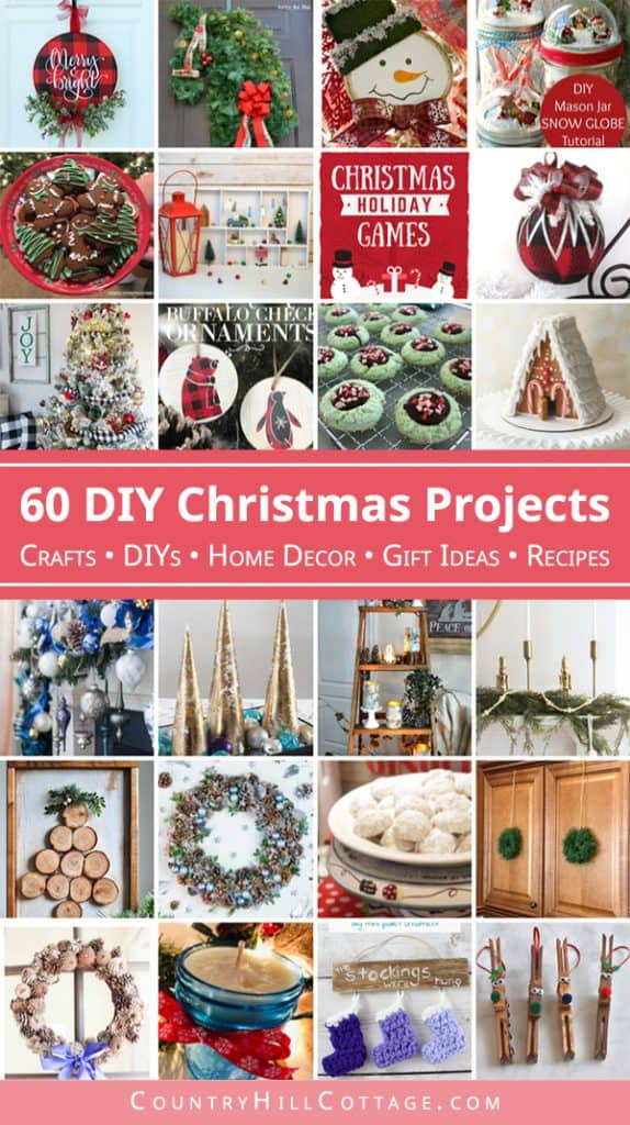 Looking for fun ideas to try this holiday season? Then check out this collection of 60+ DIY Christmas projects! Included are homemade craft ideas for holiday signs, handmade Christmas ornaments, holiday wreath tutorials, fun holiday party games and kid activities, easy holiday gift ideas and tasty recipes for drinks, cookies and more! #Christmascrafts #holidayideas #holidaycrafts #ChristmasDIYs #gifts #DIYs #crafts #holidayrecipes #holidayseason #roundup #Christmas | countryhillcottage.com