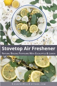 Find out how to make your house smell good naturally. Learn how to make a stovetop air freshener with eucalyptus and lemon and how to deodorizes your entire house. This homemade stove simmer is a DIY air freshener without essential oils can also be made with orange, lime, rosemary, thyme, lavender or peppermint. Clean smell, great for colds, can be used in spring, summertime, fall and winter. With printable recipe and slow cooker instructions. #homefragrance #potpourri | countryhillcottage.com
