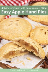 Easy apple hand pies recipe from scratch! See how to make apple hand pies with a simple vegan gluten-free cinnamon pie crust and a flavorful caramel apple filling. These simple fruit hand pies are a delicious and healthy fall baking recipe. Mini apple pies are healthy homemade food gift idea. And, this easy hand pie recipes also includes two quick shortcuts: puff pastry hand pies and apple hand pies with canned pie filling. #applehandpies #handpies #vegan #glutenfree | countryhillcottage.com