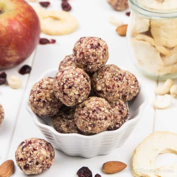 Apple Pie Energy Bites with Cranberries – Vegan Gluten-Free Paleo Snack