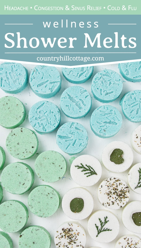 See how to make and use 3 DIY shower melts for health, wellness relaxation: relaxing eucalyptus shower bombs, decongestant peppermint shower fizzies with menthol crystals (DIY Vicks vapor rub shower melts) and headache shower steamers. The simple homemade aromatherapy recipe is made with cornstarch, baking soda, essential oils and clay to be long lasting. The shower disks can help to breathe easy, and provide relief for sinus congestion, cough and respiratory problems. | countryhillcottage.com