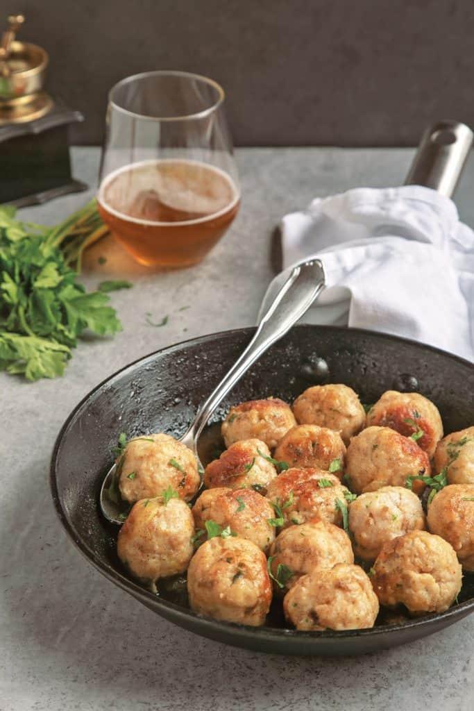 Beer Turkey Meatballs from 20-Minute Italian by Andrea Soranidis Page Street Publishing Co. 2019. © Photo Credit: Andrea Soranidis
