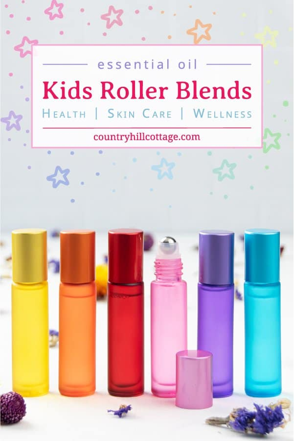 Learn the best essential oils for kids! With tips for diluting / how to dilute and safe DIY roller blends for kids for cough, chest rub, colds, behavior, sleep, fever, allergy relief, headache, sniffles, sleepy time, bath time, allergies, calming, focus, back to school, decongestant, sore throat, congestion, immune booster, ear infection, flu, tummy ache, stuffy nose, ear ache, upset tummy, bedtime. #essentialoils #rollerblend #rollerblends #rollerrecipe #aromatherapy | countryhillcottage.com