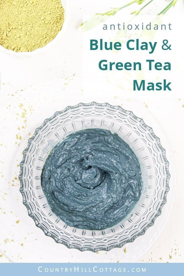 Blue clay green tea clay face mask – Turquoise waters antioxidant clay mask for wrinkles. Matcha is made from leaves of the Camellia sinensis plant. Since the leaves aren't heated but dry naturally, Matcha's antioxidants and nutrients are better preserved. Used in a DIY Matcha green tea face mask, its antioxidant properties help to rejuvenate skin cells, reduce fine lines, and promote smooth, supple skin. #blueclay #claymask #blueclaymask #matcha #greentea #clay | countryhillcottage.com