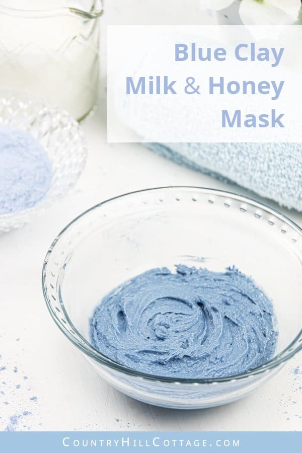 Blue clay honey face mask for glowing skin – Sky blue exfoliating clay mask. Packed with nutrients, antioxidants and flavonoids, honey is a great ingredient for a honey clay mask. Raw honey has several skincare benefits. It's a gentle exfoliator, pore cleanser and its antibacterial and anti-inflammatory properties help to clear out clogged pores and soothe acne, reduce the signs of skin ageing and prevent free-radical damage. #blueclay #claymask #blueclaymask #honey | countryhillcottage.com