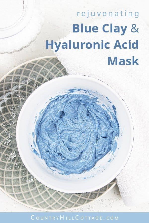 Blue clay hyaluronic acid mask – Crystal blue rejuvenating clay mask. The secret of this rejuvenating clay mask is hyaluronic acid powder. Hyaluronic acid has incredible water retention properties. The product helps the skin looking and feeling soft and supple. Hydrating hyaluronic acid fights dryness in the skin, reduces the appearance of wrinkles, and strengthens the skin's elasticity. #blueclay #claymask #blueclaymask #hyaluronicacid #clay | countryhillcottage.com