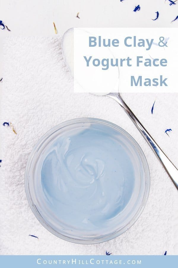 Blue clay yogurt face mask for acne – Baby blue skin-clearing clay mask. DIY blue clay yogurt face mask is perfect for fighting acne and other skin blemishes. The lactic acid contained in yogurt can dissolve dead skin cells, prevent breakouts, reduce discolouration and smooth out fine lines. Combined with blue clay, the yogurt blue clay face mask draws out impurities while the DIY clay mask also moisturises, soothes skin irritations and helps to soften. #yogurtmask | countryhillcottage.com