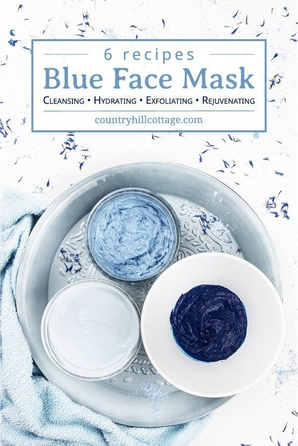 Learn 6 DIY blue clay mask recipes for glowing skin! These hydrating blue face mask ideas are gentle and a wonderful at-home skin care treatment for dry skin. A homemade hydrating face mask with blue clay is easy to make. Only 5 minutes prep is needed to make a DIY face mask, and this simple all-natural beauty recipe is cleansing, hydrating, exfoliating and rejuvenating. Suitable for all skin types, from sensitive to acne-prone. #blueclay #claymask #blueclaymask #clay | countryhillcottage.com