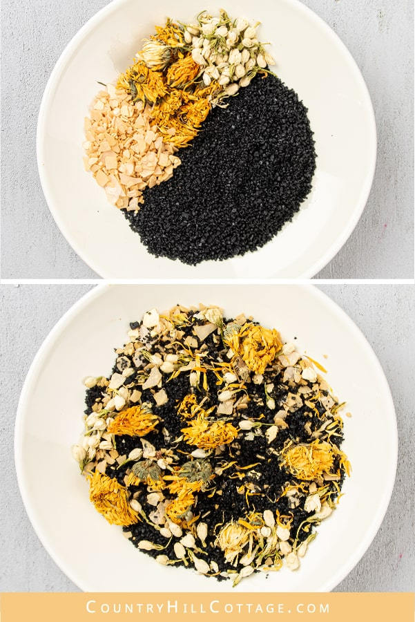 How to make calming DIY orange activated charcoal bath salts for sore muscles and achy joints. This relaxing homemade bath soak is great after a day of activity or an intense workout. Made with nat-ural organic ingredients like black salt, magnesium flakes and essential oil scented. A relaxing acti-vated charcoal bath is great for stress, sleep, and sinus. Includes printable labels for holiday gifts, wedding favors, Christmas or Mothers Day. #bathsalts #bathsoak #skincare | countryhill-cottage.com
