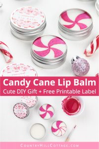 How to make the best peppermint lip balm! The easy natural DIY candy cane lip balm recipe is very moisturizing and perfect to soothe dry, cracked lips. The lip balm without beeswax is vegan and plant-based. The homemade peppermint chapstick is a cute Christmas gift and comes with free printable lip balm labels for packaging tube and containers. Made with shea butter and essential oils, great for kids. #lipbalm #peppermint #candycane #printable #essentialoils #holidays | countryhillcottage.com