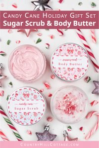 Learn how to make candy cane sugar scrub and peppermint body butter! This easy DIY whipped sugar scrub and simple homemade whipped body butter recipe are naturally fragranced with essential oils and will keep your skin moisturized throughout the holiday season. Decorated with free printable labels, the cute body scrub and natural shea body butter are also festive homemade Christmas gift ideas! #sugarscrub #bodybutter #candycane #holidaygift #printables #essential oils | countryhillcottage.com