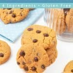 This 4 ingredient peanut butter chocolate chip cookies baking recipe makes soft and chewy cookies that have a delicious peanut butter flavour. This quick and easy gluten-free and dairy-free cookie recipe comes together in 20 minutes and can be made vegan, too. An easy dessert and great snack that kids and families will love! #peanutbutter #chocolatechips #glutenfree #cookie #cookierecipes #dairyfree | countryhillcottage.com