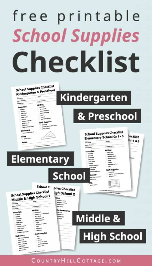 Tab the image to download the free printable school supplies checklists for kindergarten, preschool, elementary, middle school, and high school. Use this handy list of products and ideas to buy all the school necessities for kids and for teens. Included are useful shopping tips and items like cute backpacks, organization notebooks & fun stationery. Can also be useful for teachers, college or university. #school #organization #printable #freeprintables #organization | countryhillcottage.com