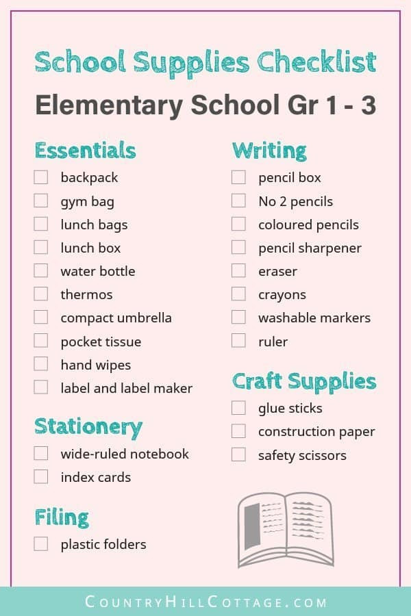 Tap the image and download a free printable school supplies checklist for elementary school up to grade 5. Use this handy list of products and ideas to buy all the school necessities for kids. Included are useful shopping tips and items like cute backpacks, organization notebooks & fun stationery. Also useful for teachers. Other back to school lists for preschool, middle & high school are available too. #elementary #school #organization #printable #freeprintables | countryhillcottage.com