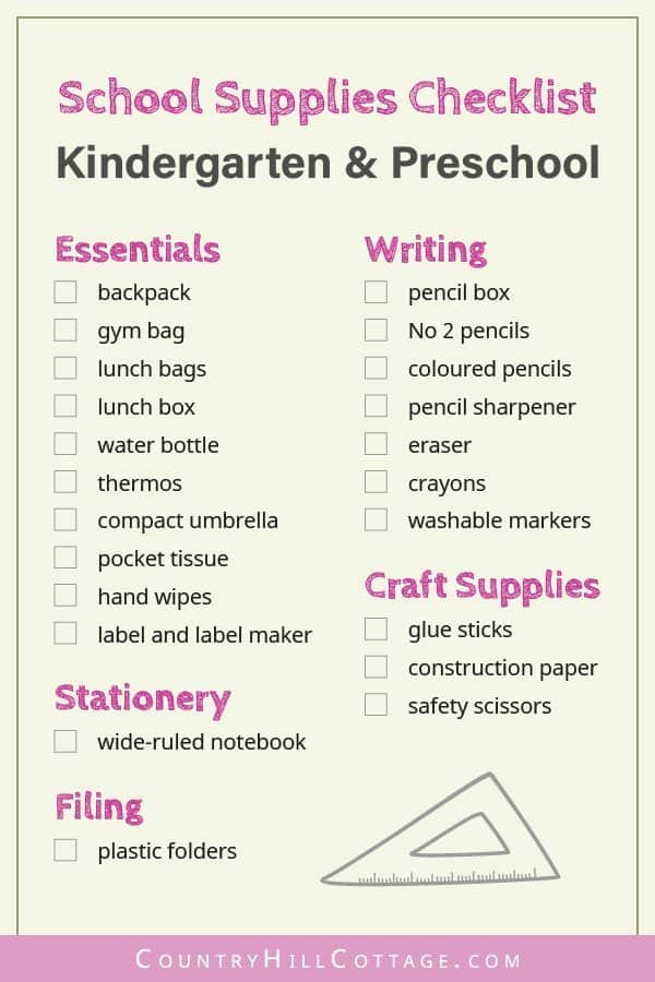Tap the image and download a free printable school supplies checklist for kindergarten and preschool. Use this handy list of products and ideas to buy all the school necessities for kids. Included are useful shopping tips and items like cute backpacks, organization notebooks & fun stationery. Can also be useful for teachers. Other back to school lists for elementary, middle and high school available too. #kindergarten #preschool #organization #printable #freeprintables | countryhillcottage.com
