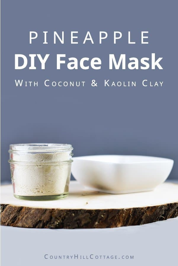 Brighten your skin and moisturize with this DIY hydrating and brightening face mask recipe with pineapple, coconut, and clay. This DIY brightening face mask recipe gently exfoliates with kaolin clay and pineapple powder while the coconut milk powder adds some serious moisture for your skin and it smells as great as it works. This is the perfect mask for summer, and it's wonderful in the winter when you're dreaming of summer.  #facemask #skincare #beautyrecipe #diymask | countryhillcottage.com