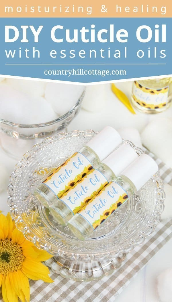 Strengthen and moisturise your nails and cuticles with a nourishing DIY cuticle oil with essential oils. This natural nail care recipe is an excellent homemade remedy to soften dry skin and cuticles, to care for cracked, brittle nails and to promote healthy nail growth. Only 5 minutes need to make this easy homemade nail serum, can be used daily. Instructions explain how to use the oil & include printable labels. #nailcare #nails #cleanbeauty #essentialoils #cuticlebalm | countryhillcottage.com