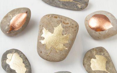 DIY Gold Leaf Painted Rocks – Easy Rock Painting Step by Step Tutorial