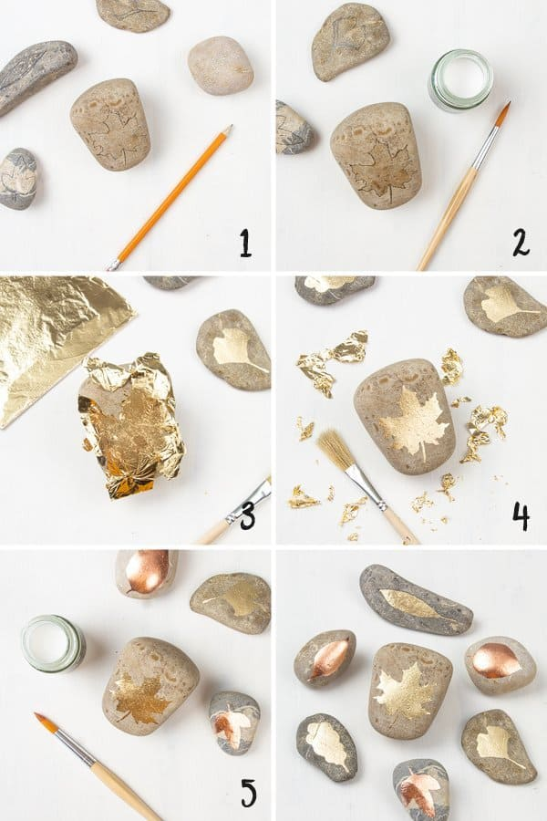 Shiny DIY Gold Leaf Painted Rocks are very easy to make and a lovely pebble art idea. This quick and simple 15 minutes rock painting tutorial includes step by step instructions, tips for supplies and is excellent for beginners. The nature-inspired leaf design is beautiful fall decor and a pretty handmade craft idea to gift or sell. This rock painting inspiration is a great DIY craft project for teens and adults. #paintedrock #rockpainting #goldleaf #pebbleart #tutorial | countryhillcottage.com