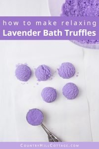 Learn how to make DIY lavender bubble bath bars scoops for a spa experience! Made with essential oils, citric acid, baking soda, moisturising cocoa butter, coconut oil and an ice cream scoop, these DIY bath truffles soften the skin, relaxes your senses and create long-lasting bubbles. This solid bubble bar recipe is easier to make than bath bombs and a great homemade gifts idea. Tutorial with step-by-step instructions. #bathtruffle #bathbomb #bubblebar #essentialoils   countryhillcottage.com