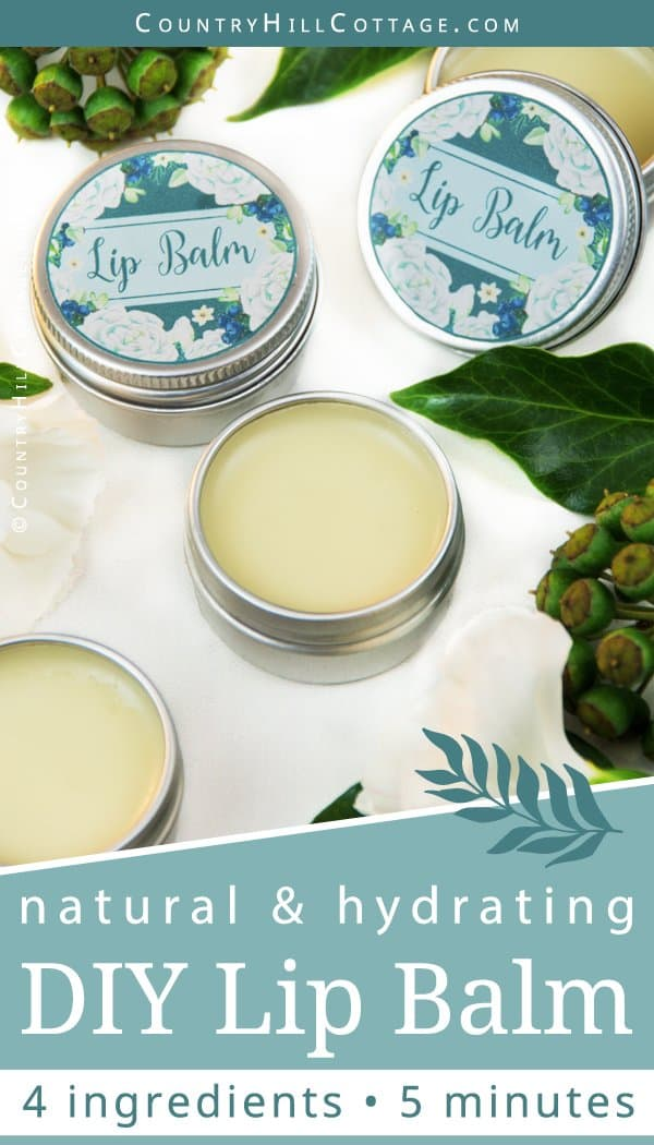 Learn how to make an easy natural 4-ingredient DIY lip balm. The moisturizing and healing lip balm recipe is made with hydrating shea butter, organic coconut oil and beeswax oil to leave your lips feeling soft and supple. You can customise the lip balm with essential oils, such as peppermint, lavender, vanilla, or grapefruit. The step-by-step tutorial includes cute labels for the containers. #skincare #lipbalm #beautydiy #essentialoils #coconutoil #sheabutter | countryhillcottage.com