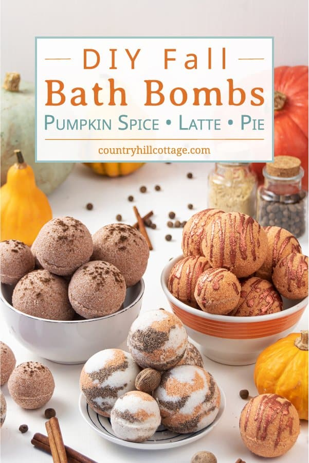 Learn how to make 3 simple natural DIY bath bomb recipes without cornstarch! Pretty pumpkin spice bath bombs have a lovely scent & create cozy fall vibes while you relax in the tub. These easy homemade bath bombs with essential oils are very fizzy and made with moisturizing ingredients that hydrate your skin while you enjoy the aromatherapy benefits. Perfect for kids & a great holiday gift idea for Halloween & Christmas. #bathbombs #aromatherapy #fall #essentialoils | countryhillcottage.com