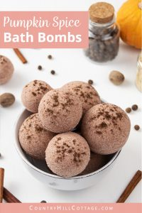 Learn how to make 3 simple natural DIY fall bath bomb recipes! Pretty pumpkin spice bath bombs have a lovely scent & create cozy fall vibes while you relax in the tub. These easy homemade bath bombs with essential oils are very fizzy and are made with moisturizing ingredients that hydrate your skin while you enjoy the aromatherapy benefits. Perfect for kids & a great holiday gift idea for Halloween, Thanksgiving & Christmas. #bathbombs #aromatherapy #fall #pumpkinspice | countryhillcottage.com