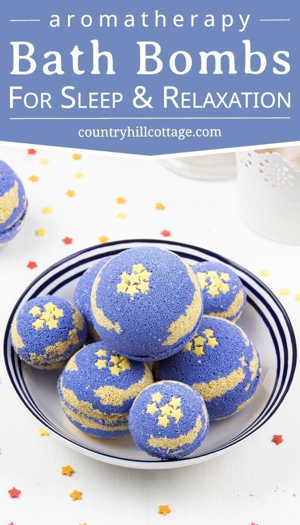 DIY foaming bath bombs with shea butter help to relax and promote a good night's sleep. Calm your mind, relieve stress, and create a spa-worthy bath ritual to unwind. Homemade foaming bath bombs add fizz and bubbles to the water and turn bath time into a fun excitement for kids and adults. Shea butter leaves the skin well nourished and moisturized. Essential oils immerse the senses and relaxes mind and body. #bathbombs #essentialoils #aromatherapy #sheabutter #beautydiy| countryhillcottage.com