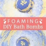 DIY foaming bath bombs with shea butter help to relax and promote a good night's sleep. Calm your mind, relieve stress, and create a spa-worthy bath ritual to unwind. Homemade foaming bath fizzies add fizz and bubbles to the water and turn bath time into a fun excitement for kids and adults. Shea butter leaves the skin well nourished and moisturized. Essential oils immerse the senses and relaxes mind and body. #bathbombs #essentialoils #aromatherapy #sheabutter #beautydiy| countryhillcottage.com