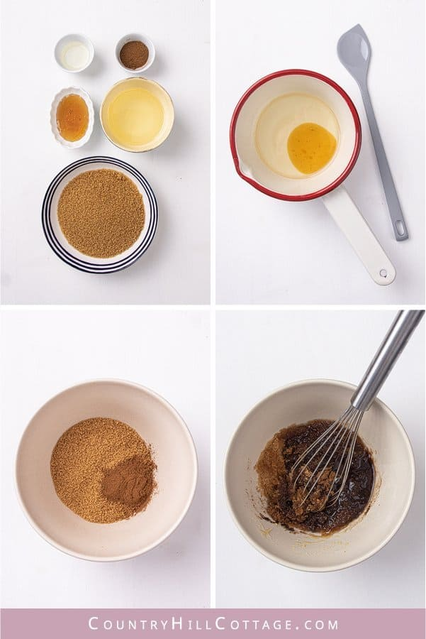 Learn how to make DIY pumpkin spice sugar scrub with organic honey! Made with essential oils & cinnamon, this easy natural brown sugar scrub recipe is perfect for autumn skincare and glowing, smooth skin. The simple homemade body scrub is great for hands, legs, lips, and can be used for kids and sensitive or dry skin. The exfoliating scrub looks cute in jars with free printable labels as Christmas gift! #sugarscrub #essentialoils #bodyscrub #pumpkinspice #skincare #fall   countryhillcottage.com