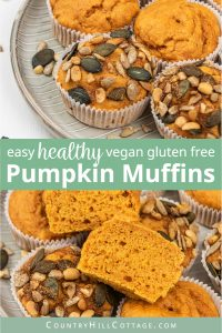 Healthy pumpkin muffins are moist & delicious! This easy pumpkin muffins recipe is vegan, gluten free, refined sugar-free, eggless and so simple to make from scratch. Homemade pumpkin spice muffins are a nutritious breakfast idea and a healthy snack. With options for applesauce, chocolate chips, cream cheese frosting, streusel topping, oily free & sugar free. Great for kids & clean eating. #muffins #pumpkin #pumpkinmuffins #vegan #glutenfree #pumpkinspice #cleaneating | coun-tryhillcottage.com