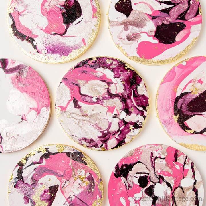 Easy Marble DIY Coasters with Nail Polish – Cute Homemade Coaster Idea