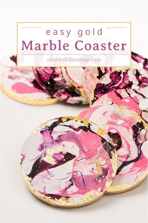 Learn how to make beautiful round gold marble DIY coasters that look like Anthropologie agate coasters! Cute homemade coasters are fun and easy and make a stunning handmade gift for friends and family. The modern handmade coasters are painted with nail polish and are finished in no time. This simple DIY project can be made with wooden coasters or ceramic tiles. A great craft for adults and kids, unique & elegant home decor! #coasters #marble #DIYcoaster #diy #agate | countryhillcottage.com