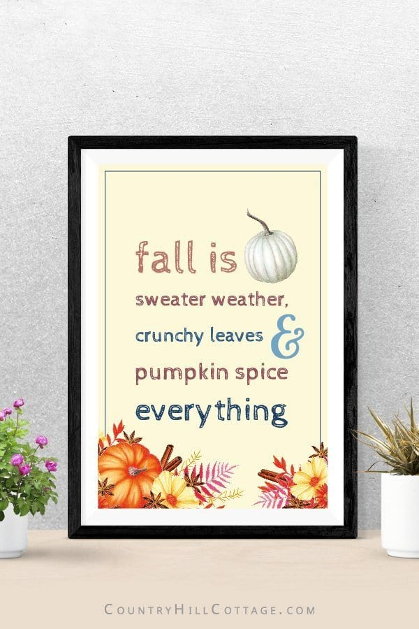 Download free rustic fall printables inspired by autumn, vintage watercolor drawings and farmhouse style with pumpkins and leaves. The free printable quotes are great to frame and can be used as cute décor signs and wall art ideas for home, kitchen, bedrooms, bathrooms, for work, gallery walls, for planners or the classroom. The free prints come in 3 sizes: 4x6, 5x7 & 8x10. #freeprintable #fall #falldecor #fallprintable #autumn #apples #pumpkins #wallart #falldecorideas | countryhillcottage.com