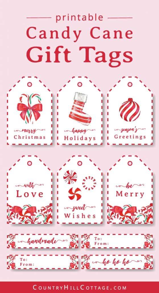 Verzieren Sie Weihnachtsgeschenke mit kostenlosen bedruckbaren Geschenkanhänger aus Zuckerstangen! Diese hübschen DIY-Weihnachtsgeschenkanhänger sind ein einfaches saisonales Bastelprojekt und eine wunderbare Möglichkeit, handgefertigte Weihnachtsgeschenke zu verschönern. Tippe auf das Bild, um dieses Set mit 9 Weihnachtsgeschenketiketten herunterzuladen und verpacke deine Leckereien mit Stil! Der einfache Zuckerstangenentwurf ist für Lehrer, Kinder, Nachbarn und Freunde groß. #gifttag #holidaygifttags #christmasgifttags #gift #tag #DIYtags #Christmas #Holidays | countryhillcottage.com