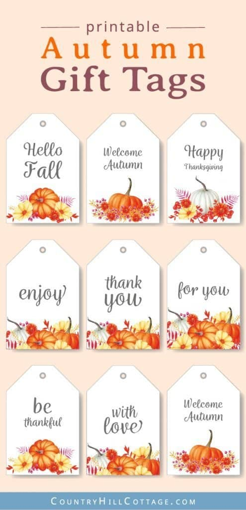 Free printable fall gift tags add a simple and beautiful touch to handmade presents, DIY gifts, and homemade treats. 8 printable thank you tags perfect for all autumn celebrations and holidays, birthdays, fall weddings, baby showers, Thanksgiving & teachers. Download the free printables for gift wrapping and packaging personalized goods in style! Rustic, vintage & watercolor inspired print-able labels. #freeprintable #tags #giftwrapping #fall #autumn #birthday #printable| countryhgill-cottage.com