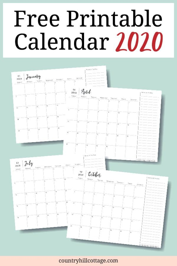 Get a free printable 2020 monthly calendar with notes, cute calligraphy and minimalist design! This free black and white modern template planner helps you organize the year, schedule appointments, plan upcoming events, be productive and keep track of each month. The simple printable DIY PDF calendar includes Sunday and Monday start and comes in horizontal landscape and vertical portrait format and optionally with holidays! #minimal #calendar #2020 #calendar2020 #planner | countryhillcottage.com
