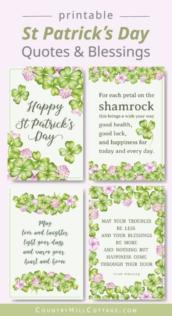 Celebrate Saint Patrick's Day with free St Patrick's Day quote printables! The motivational printable quotes have a cute shamrock art illustration and four leaf clover drawing design on a green background. Included are traditional Irish blessings, Irish sayings, wishes and Irish proverbs. The PDF signs are easy DIY home decor and greeting cards. Great for kids, kindergarten, preschool, classroom pictures and DIY gifts. #stpatricksday #quote #blessings #sayings #Irish | countryhillcottage.com